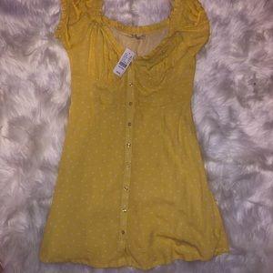 LA Hearts Yellow Polka Dot Mini Dress